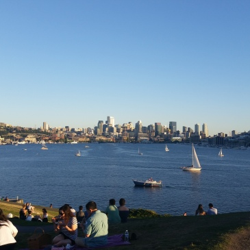 Overlooking Lake Union and Seattle from Gasworks Park.
